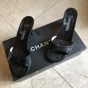 Chanel leather logo mules